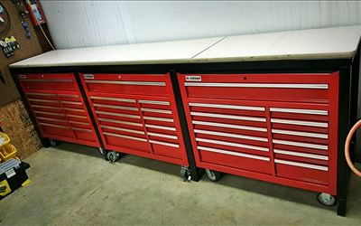 Workshop Table and Toolboxes